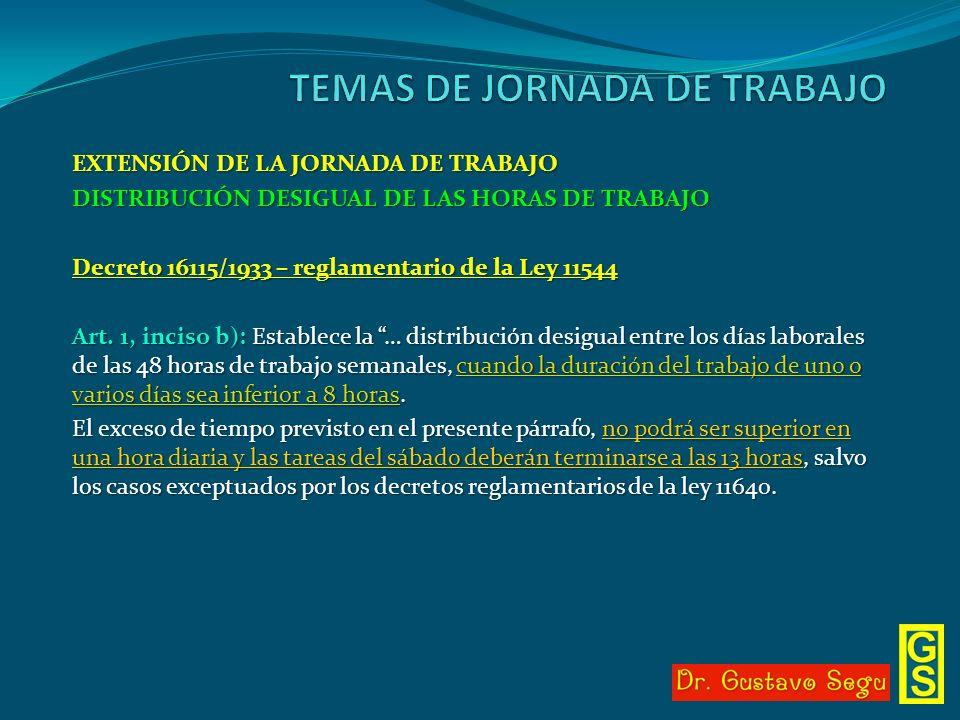 EXTENSIÓN DE LA JORNADA DE TRABAJO DISTRIBUCIÓN DESIGUAL DE LAS HORAS DE TRABAJO Decreto 16115/1933 – reglamentario de la Ley 11544 Art. 1, inciso b):