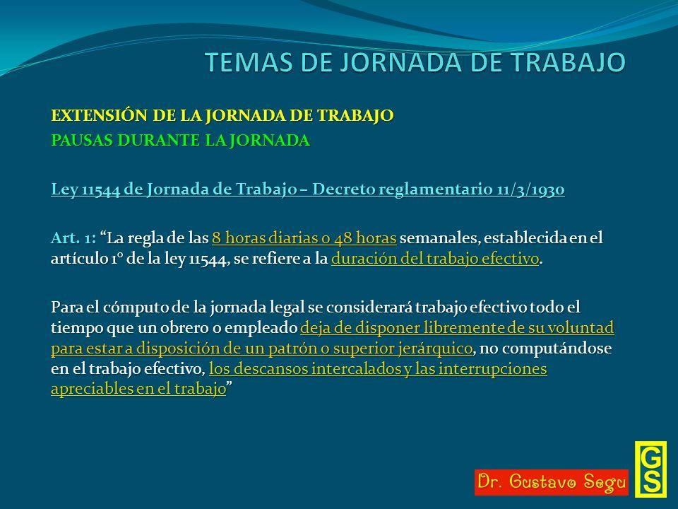 EXTENSIÓN DE LA JORNADA DE TRABAJO PAUSAS DURANTE LA JORNADA Ley 11544 de Jornada de Trabajo – Decreto reglamentario 11/3/1930 Art. 1: La regla de las