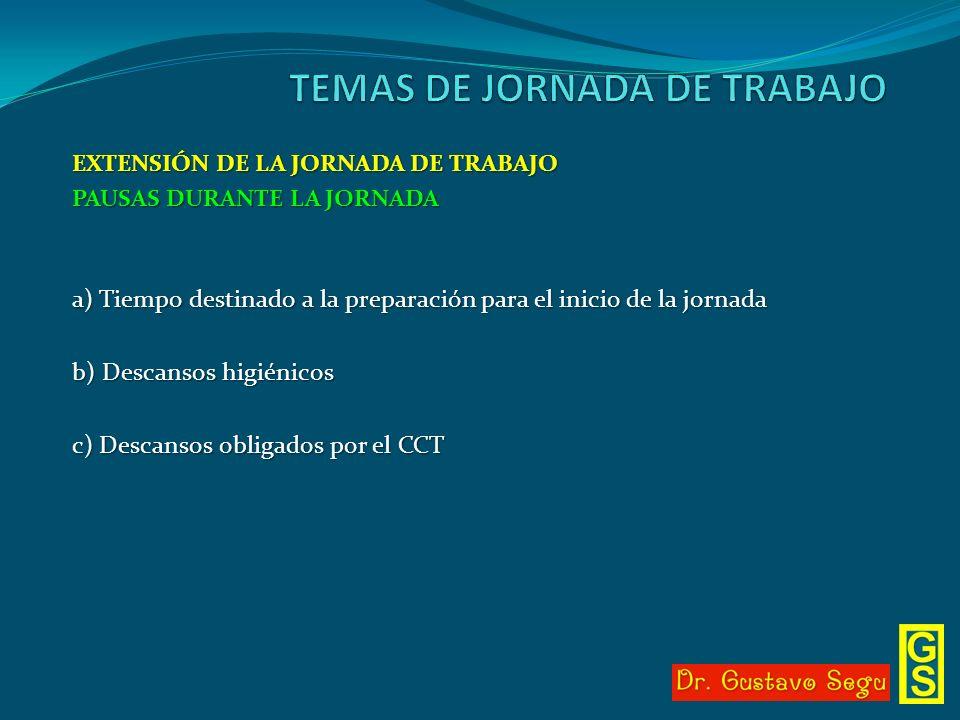 EXTENSIÓN DE LA JORNADA DE TRABAJO PAUSAS DURANTE LA JORNADA a) Tiempo destinado a la preparación para el inicio de la jornada b) Descansos higiénicos