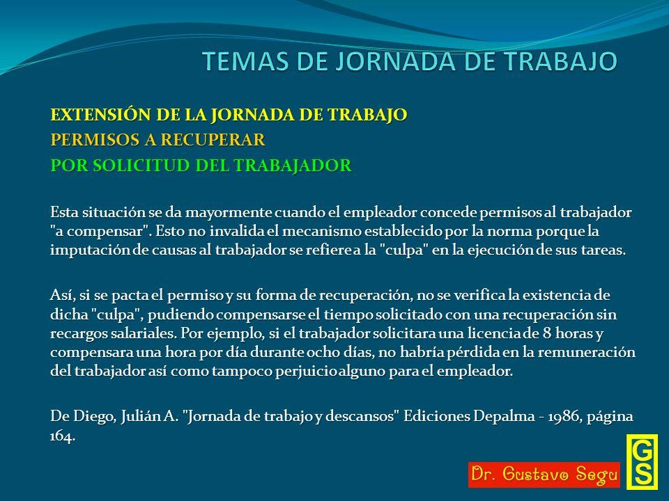 EXTENSIÓN DE LA JORNADA DE TRABAJO PERMISOS A RECUPERAR POR SOLICITUD DEL TRABAJADOR Esta situación se da mayormente cuando el empleador concede permi