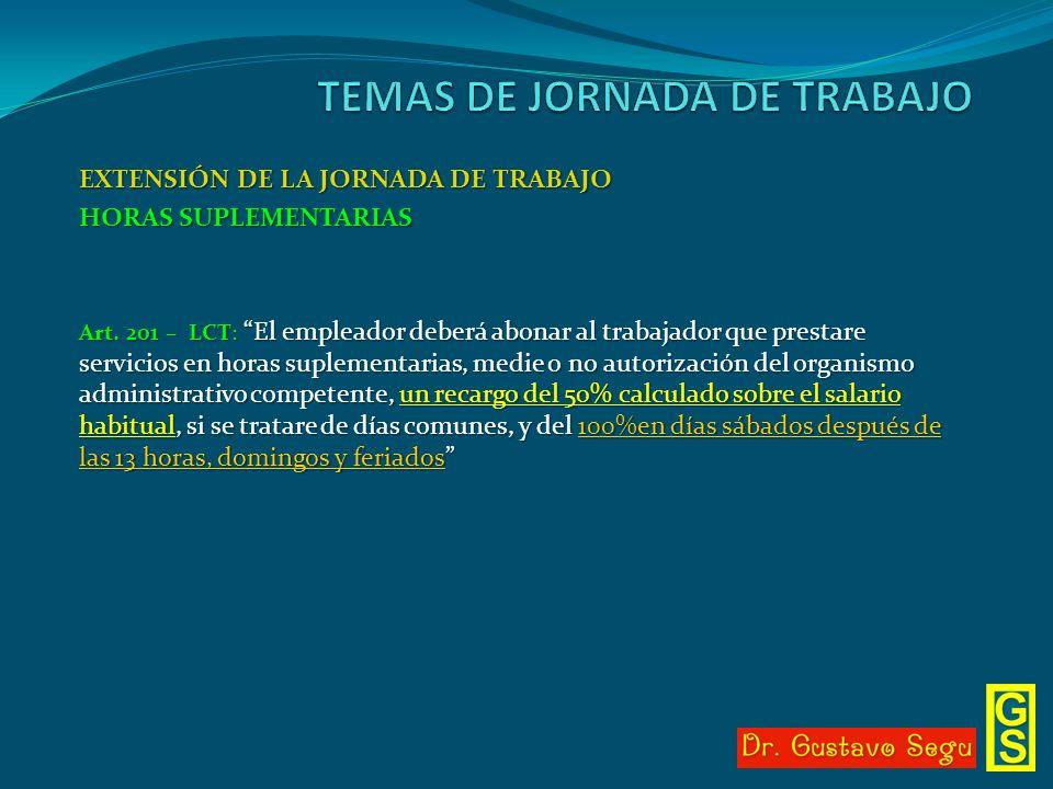 EXTENSIÓN DE LA JORNADA DE TRABAJO HORAS SUPLEMENTARIAS Art. 201 – LCT: El empleador deberá abonar al trabajador que prestare servicios en horas suple