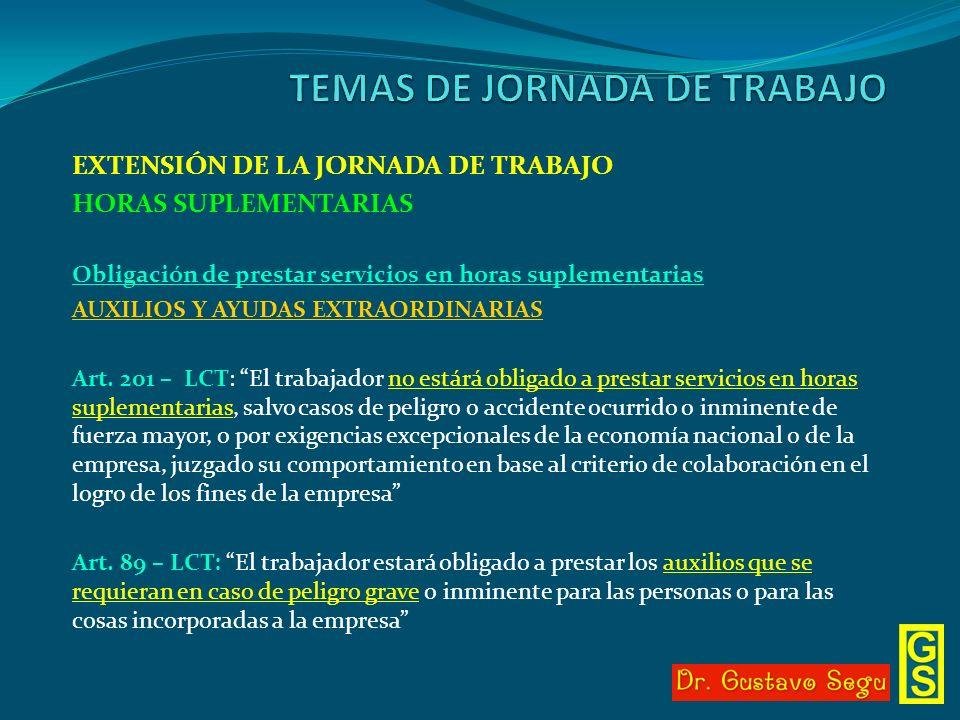 EXTENSIÓN DE LA JORNADA DE TRABAJO HORAS SUPLEMENTARIAS Obligación de prestar servicios en horas suplementarias AUXILIOS Y AYUDAS EXTRAORDINARIAS Art.