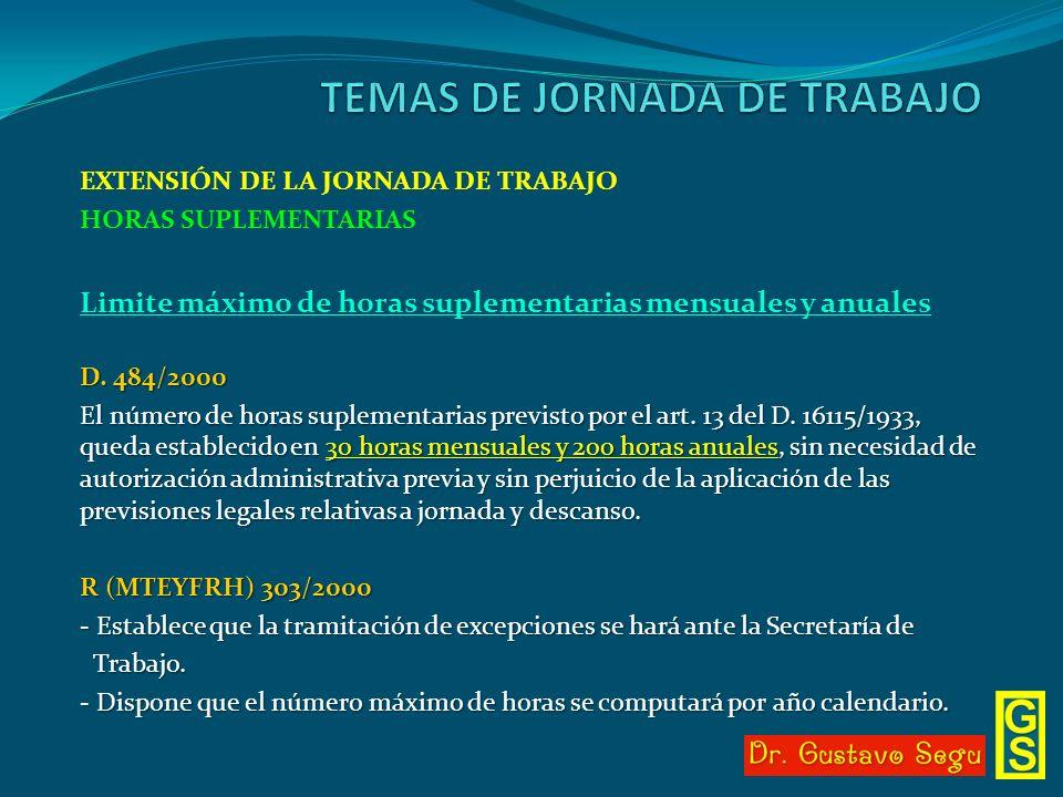 EXTENSIÓN DE LA JORNADA DE TRABAJO HORAS SUPLEMENTARIAS Limite máximo de horas suplementarias mensuales y anuales D. 484/2000 El número de horas suple