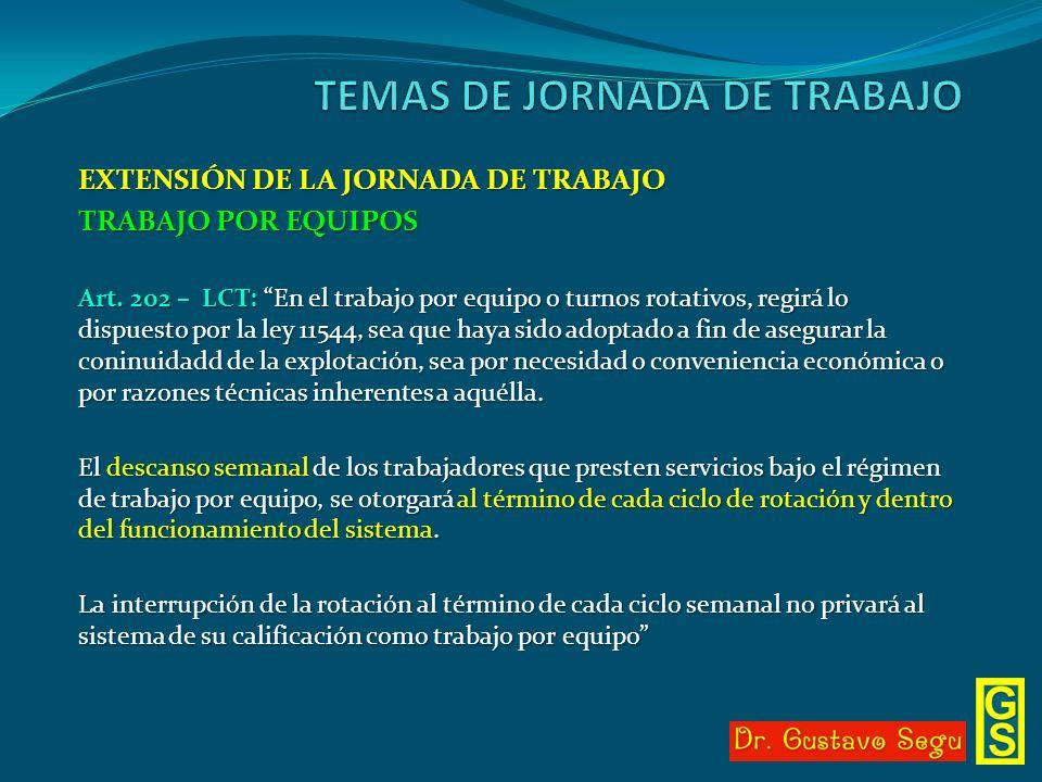 EXTENSIÓN DE LA JORNADA DE TRABAJO TRABAJO POR EQUIPOS Art. 202 – LCT: En el trabajo por equipo o turnos rotativos, regirá lo dispuesto por la ley 115