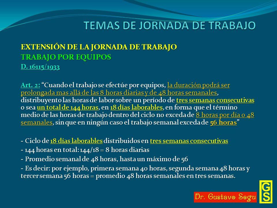 EXTENSIÓN DE LA JORNADA DE TRABAJO TRABAJO POR EQUIPOS D. 16115/1933 Art. 2: Cuando el trabajo se efectúe por equipos, la duración podrá ser prolongad