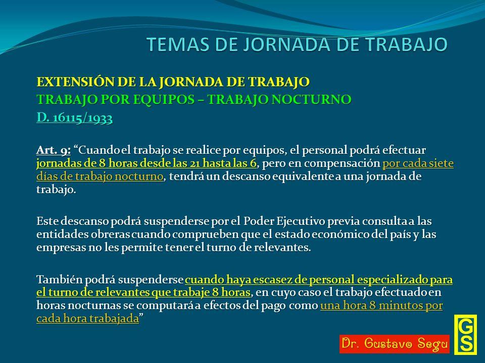 EXTENSIÓN DE LA JORNADA DE TRABAJO TRABAJO POR EQUIPOS – TRABAJO NOCTURNO D. 16115/1933 Art. 9: Cuando el trabajo se realice por equipos, el personal