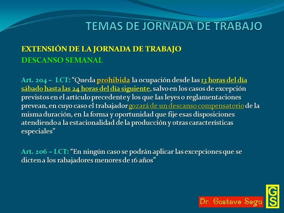 EXTENSIÓN DE LA JORNADA DE TRABAJO DESCANSO SEMANAL Art. 204 – LCT: Queda prohibida la ocupación desde las 13 horas del día sábado hasta las 24 horas