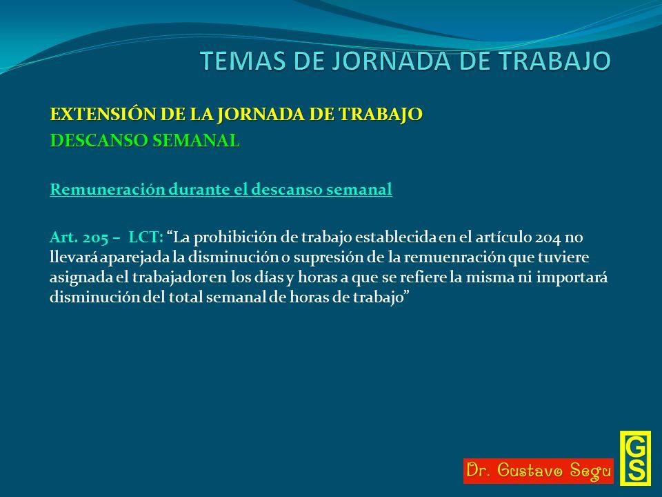 EXTENSIÓN DE LA JORNADA DE TRABAJO DESCANSO SEMANAL Remuneración durante el descanso semanal Art. 205 – LCT: La prohibición de trabajo establecida en
