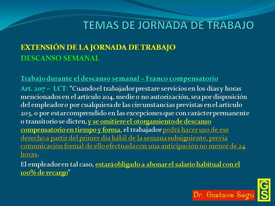 EXTENSIÓN DE LA JORNADA DE TRABAJO DESCANSO SEMANAL Trabajo durante el descanso semanal – Franco compensatorio Art. 207 – LCT: Cuando el trabajador pr