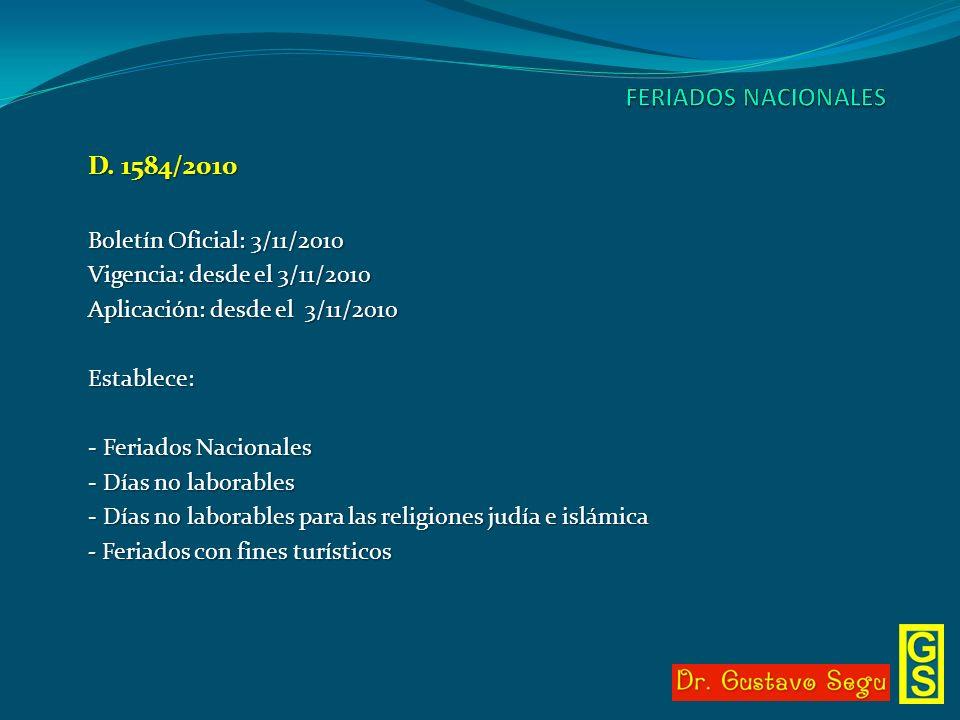 Boletín Oficial: 3/11/2010 Vigencia: desde el 3/11/2010 Aplicación: desde el 3/11/2010 Establece: - Feriados Nacionales - Días no laborables - Días no