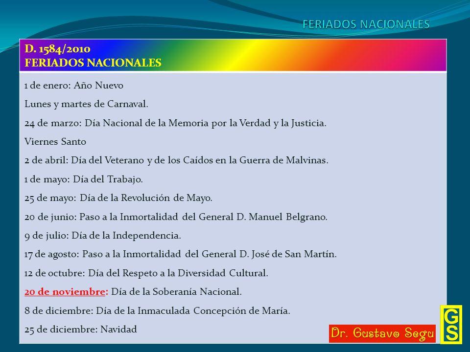 D. 1584/2010 FERIADOS NACIONALES 1 de enero: Año Nuevo Lunes y martes de Carnaval. 24 de marzo: Día Nacional de la Memoria por la Verdad y la Justicia