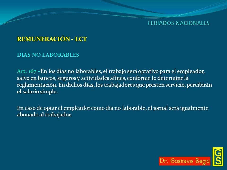 REMUNERACIÓN - LCT DIAS NO LABORABLES Art. 167 –En los días no laborables, el trabajo será optativo para el empleador, salvo en bancos, seguros y acti