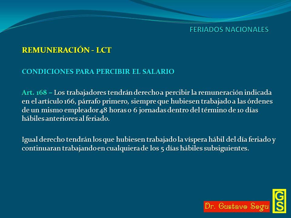 REMUNERACIÓN - LCT CONDICIONES PARA PERCIBIR EL SALARIO Art. 168 – Los trabajadores tendrán derecho a percibir la remuneración indicada en el artículo