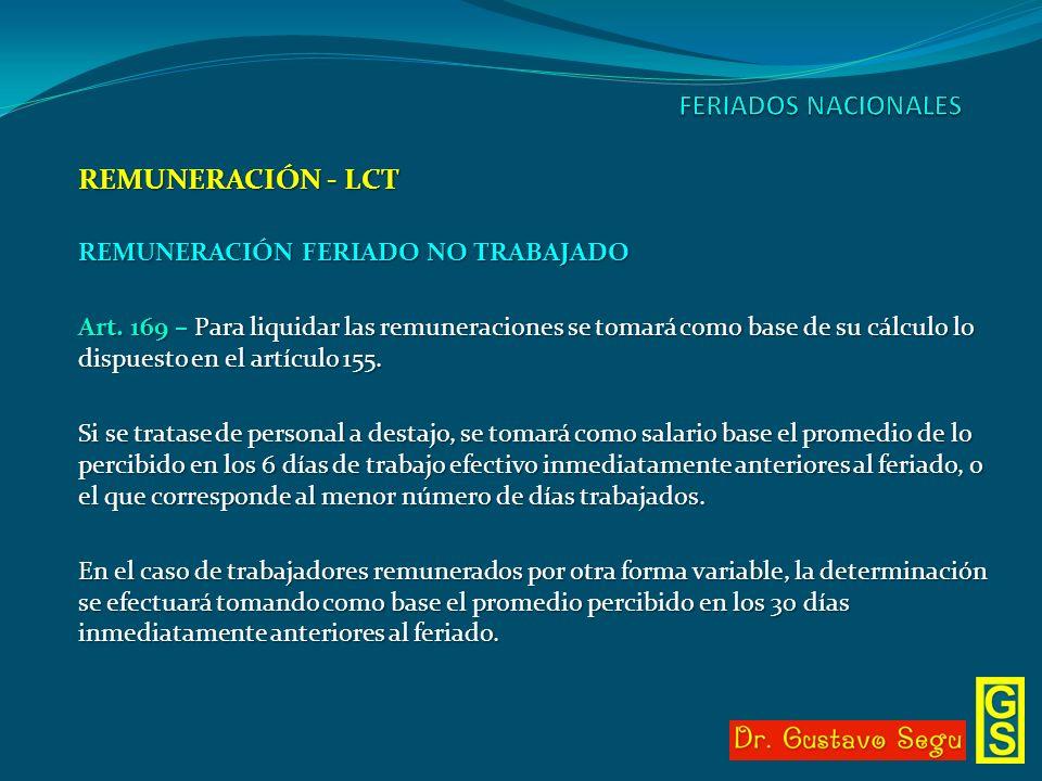 REMUNERACIÓN - LCT REMUNERACIÓN FERIADO NO TRABAJADO Art. 169 – Para liquidar las remuneraciones se tomará como base de su cálculo lo dispuesto en el