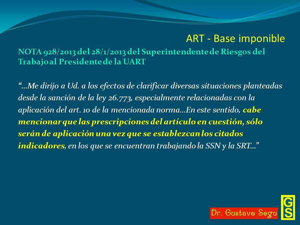 ART - Base imponible NOTA 928/2013 del 28/1/2013 del Superintendente de Riesgos del Trabajo al Presidente de la UART …Me dirijo a Ud. a los efectos de