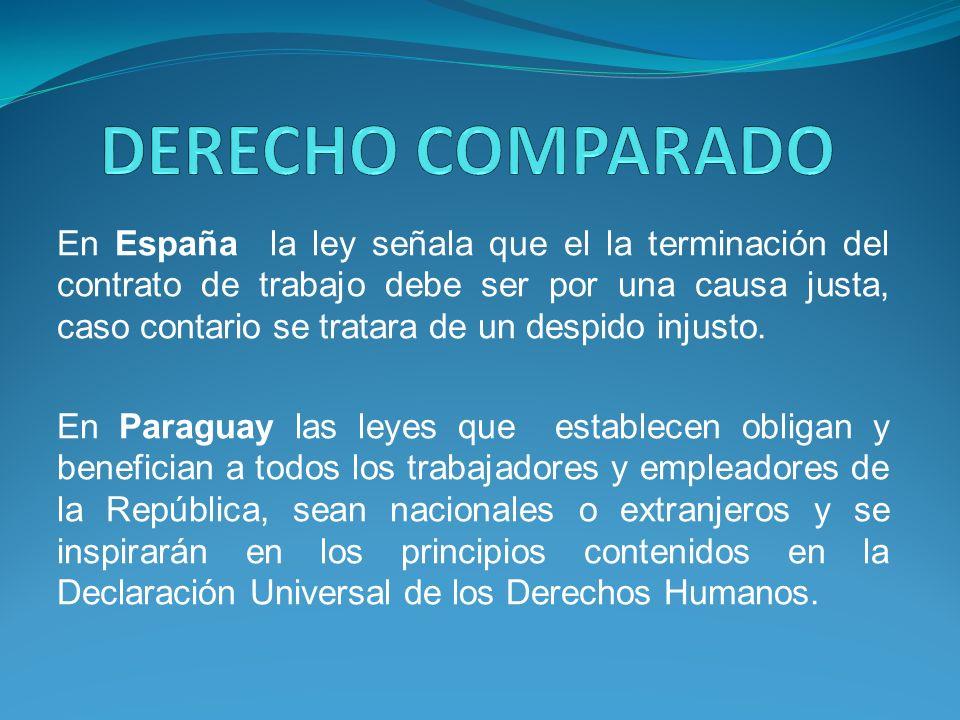 En España la ley señala que el la terminación del contrato de trabajo debe ser por una causa justa, caso contario se tratara de un despido injusto.