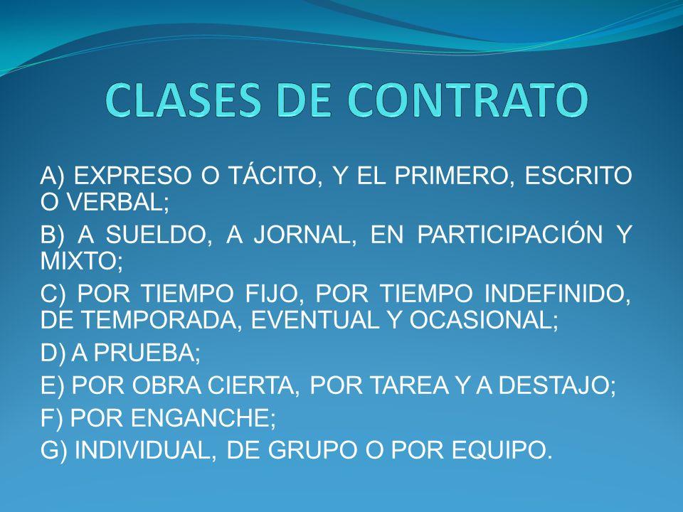 A) EXPRESO O TÁCITO, Y EL PRIMERO, ESCRITO O VERBAL; B) A SUELDO, A JORNAL, EN PARTICIPACIÓN Y MIXTO; C) POR TIEMPO FIJO, POR TIEMPO INDEFINIDO, DE TEMPORADA, EVENTUAL Y OCASIONAL; D) A PRUEBA; E) POR OBRA CIERTA, POR TAREA Y A DESTAJO; F) POR ENGANCHE; G) INDIVIDUAL, DE GRUPO O POR EQUIPO.