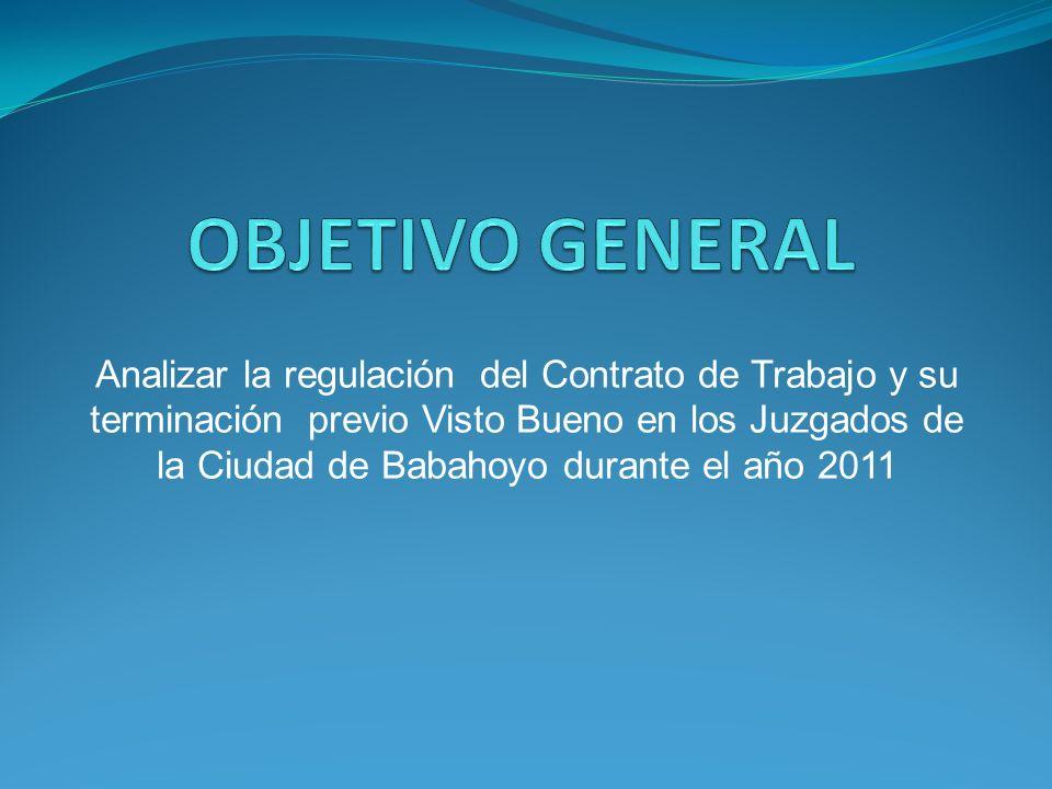 Analizar la regulación del Contrato de Trabajo y su terminación previo Visto Bueno en los Juzgados de la Ciudad de Babahoyo durante el año 2011