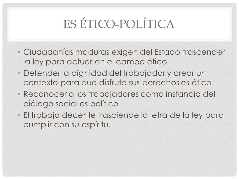 ES ÉTICO-POLÍTICA Ciudadanías maduras exigen del Estado trascender la ley para actuar en el campo ético.