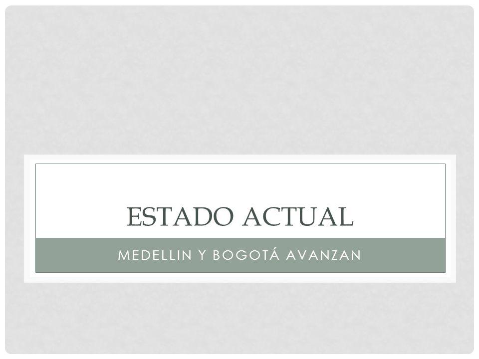 ESTADO ACTUAL MEDELLIN Y BOGOTÁ AVANZAN