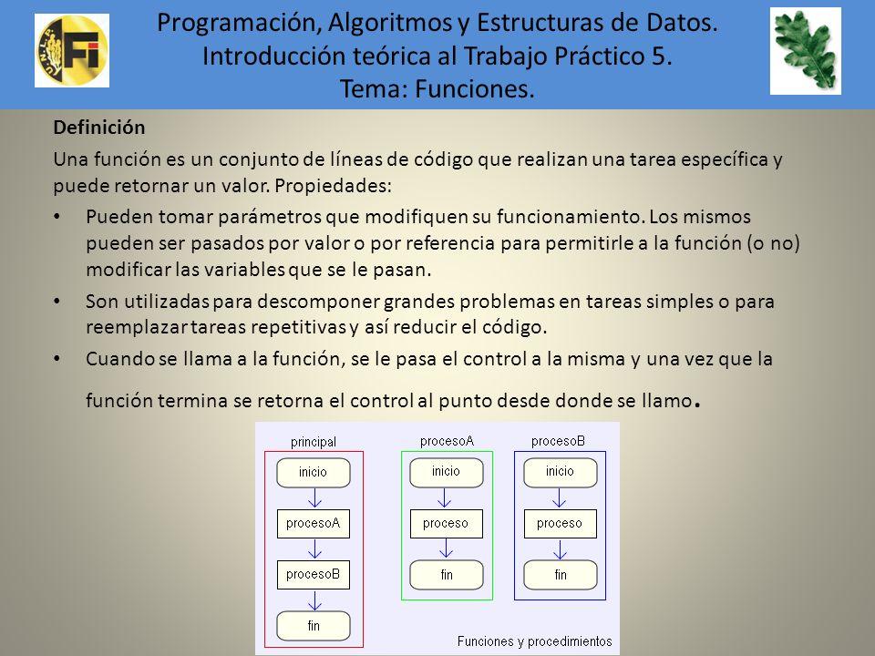 Definición Una función es un conjunto de líneas de código que realizan una tarea específica y puede retornar un valor. Propiedades: Pueden tomar parám