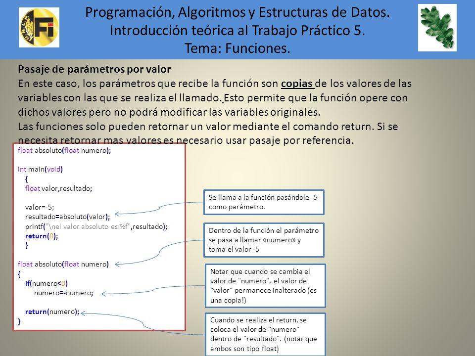 float absoluto(float numero); int main(void) { float valor,resultado; valor=-5; resultado=absoluto(valor); printf(