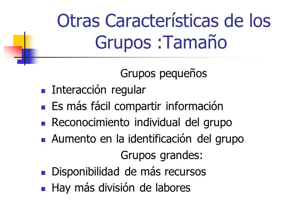 Otras Características de los Grupos : Composición Grupos Homogéneos: Amistad, empatía, afinidad Disminuye el nivel de conflictos Grupos Heterogéneos Diversidad de puntos de vista Variedad de recursos