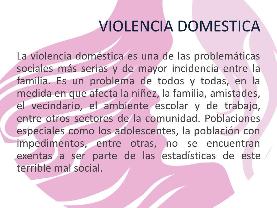 VIOLENCIA DOMESTICA La violencia doméstica es una de las problemáticas sociales más serias y de mayor incidencia entre la familia.