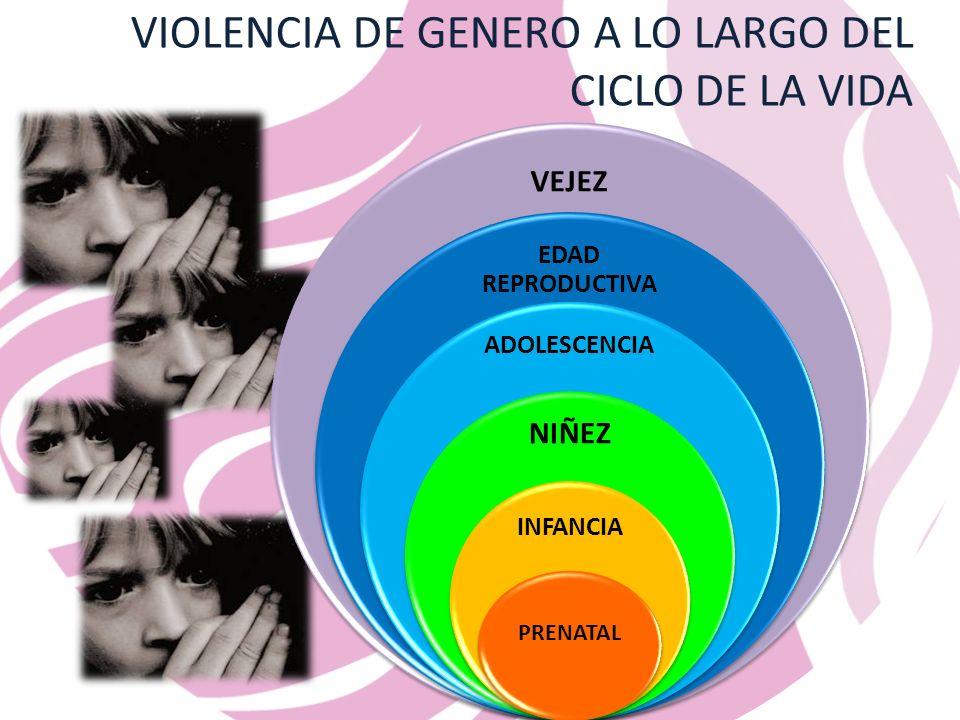 VIOLENCIA DE GENERO A LO LARGO DEL CICLO DE LA VIDA VEJEZ EDAD REPRODUCTIVA ADOLESCENCIA NIÑEZ INFANCIA PRENATAL