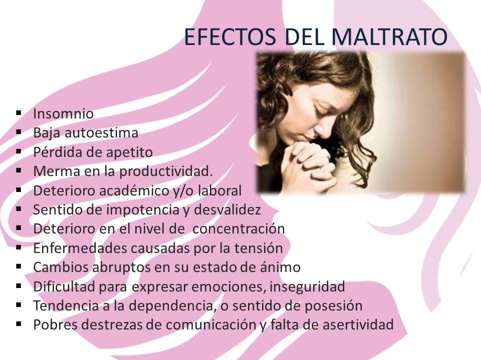 EFECTOS DEL MALTRATO Insomnio Baja autoestima Pérdida de apetito Merma en la productividad.