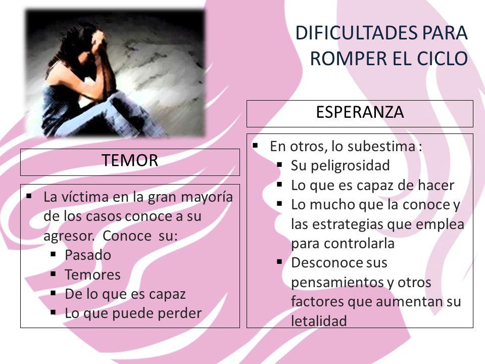 DIFICULTADES PARA ROMPER EL CICLO TEMOR La víctima en la gran mayoría de los casos conoce a su agresor.