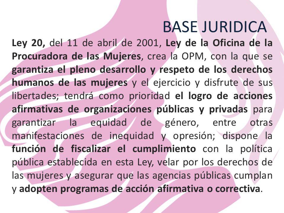 BASE JURIDICA Ley 20, del 11 de abril de 2001, Ley de la Oficina de la Procuradora de las Mujeres, crea la OPM, con la que se garantiza el pleno desarrollo y respeto de los derechos humanos de las mujeres y el ejercicio y disfrute de sus libertades; tendrá como prioridad el logro de acciones afirmativas de organizaciones públicas y privadas para garantizar la equidad de género, entre otras manifestaciones de inequidad y opresión; dispone la función de fiscalizar el cumplimiento con la política pública establecida en esta Ley, velar por los derechos de las mujeres y asegurar que las agencias públicas cumplan y adopten programas de acción afirmativa o correctiva.