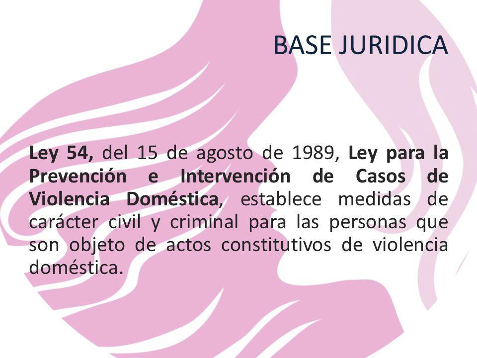 BASE JURIDICA Ley 54, del 15 de agosto de 1989, Ley para la Prevención e Intervención de Casos de Violencia Doméstica, establece medidas de carácter civil y criminal para las personas que son objeto de actos constitutivos de violencia doméstica.