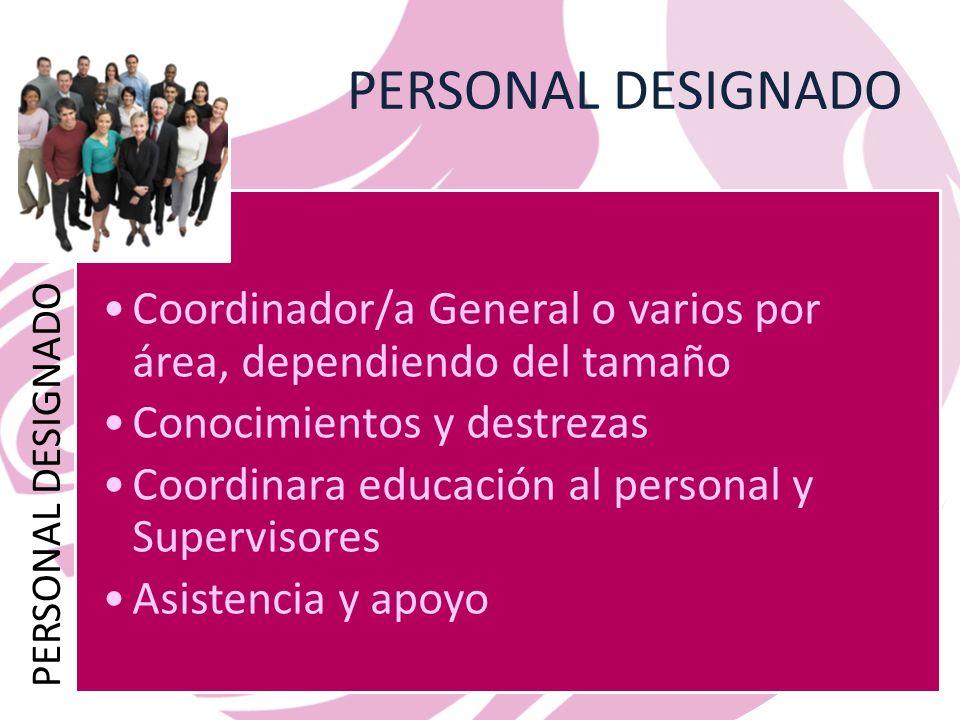 PERSONAL DESIGNADO Coordinador/a General o varios por área, dependiendo del tamaño Conocimientos y destrezas Coordinara educación al personal y Supervisores Asistencia y apoyo