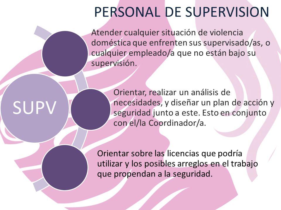 PERSONAL DE SUPERVISION SUPV Atender cualquier situación de violencia doméstica que enfrenten sus supervisado/as, o cualquier empleado/a que no están bajo su supervisión.