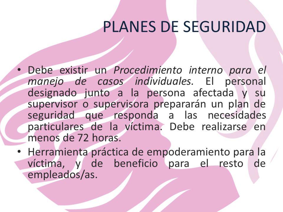 PLANES DE SEGURIDAD Debe existir un Procedimiento interno para el manejo de casos individuales.