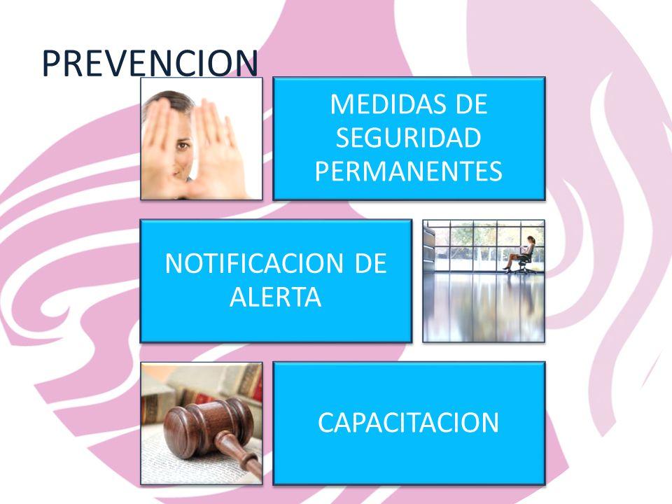 PREVENCION MEDIDAS DE SEGURIDAD PERMANENTES NOTIFICACION DE ALERTA CAPACITACION
