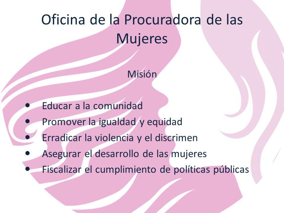Oficina de la Procuradora de las Mujeres Misión Educar a la comunidad Promover la igualdad y equidad Erradicar la violencia y el discrimen Asegurar el desarrollo de las mujeres Fiscalizar el cumplimiento de políticas públicas