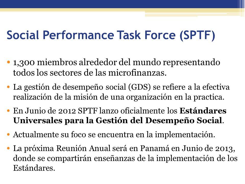 Social Performance Task Force (SPTF) 1,300 miembros alrededor del mundo representando todos los sectores de las microfinanzas.