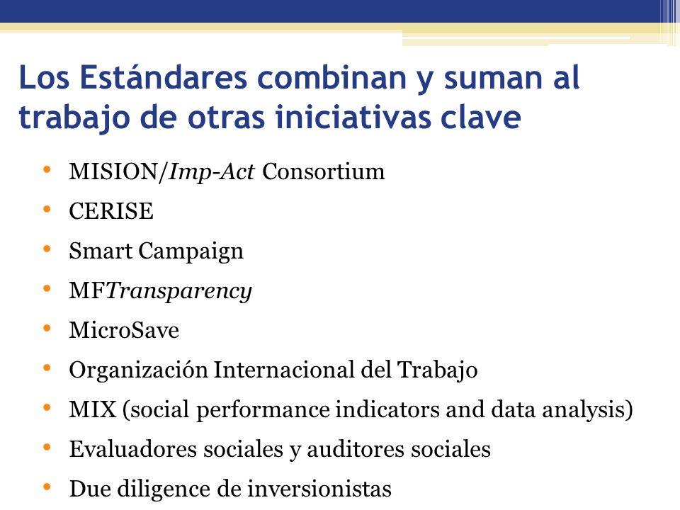 Los Estándares combinan y suman al trabajo de otras iniciativas clave MISION/Imp-Act Consortium CERISE Smart Campaign MFTransparency MicroSave Organización Internacional del Trabajo MIX (social performance indicators and data analysis) Evaluadores sociales y auditores sociales Due diligence de inversionistas