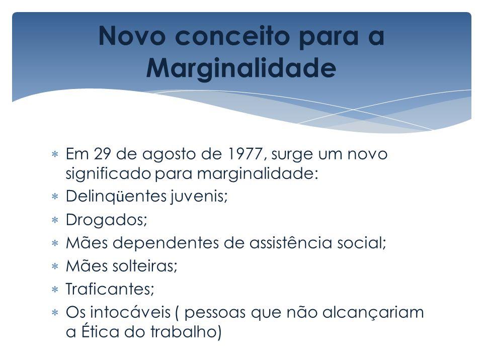 Novo conceito para a Marginalidade Em 29 de agosto de 1977, surge um novo significado para marginalidade: Delinq ü entes juvenis; Drogados; Mães depen