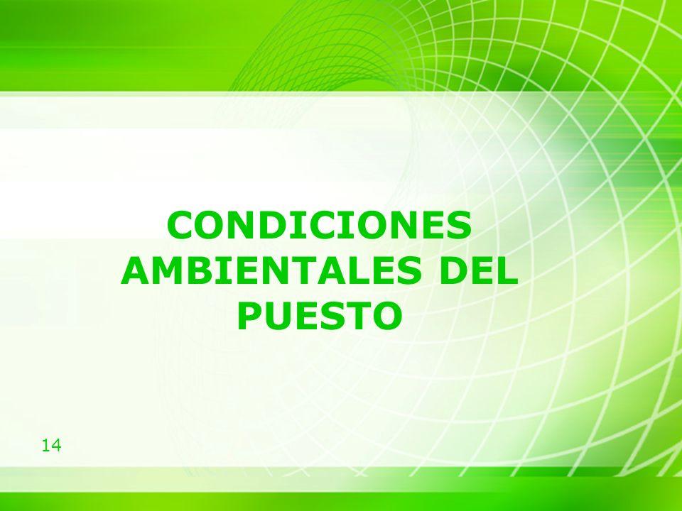 14 CONDICIONES AMBIENTALES DEL PUESTO