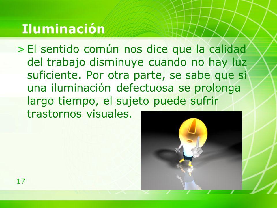17 Iluminación >El sentido común nos dice que la calidad del trabajo disminuye cuando no hay luz suficiente.