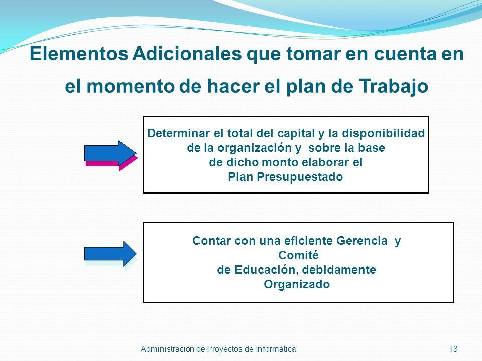 Elementos Adicionales que tomar en cuenta en el momento de hacer el plan de Trabajo Determinar el total del capital y la disponibilidad de la organiza