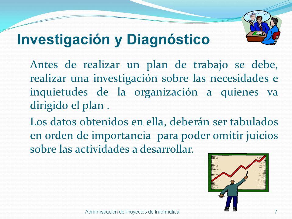 Investigación y Diagnóstico Antes de realizar un plan de trabajo se debe, realizar una investigación sobre las necesidades e inquietudes de la organiz