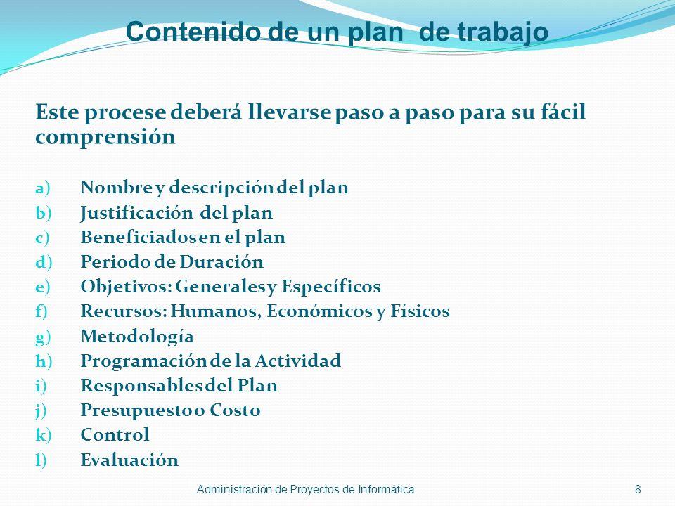 Contenido de un plan de trabajo Este procese deberá llevarse paso a paso para su fácil comprensión a) Nombre y descripción del plan b) Justificación d
