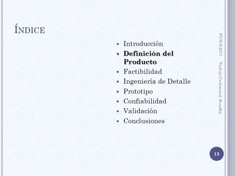 Í NDICE Introducción Definición del Producto Definición del Producto Factibilidad Ingeniería de Detalle Prototipo Confiabilidad Validación Conclusione