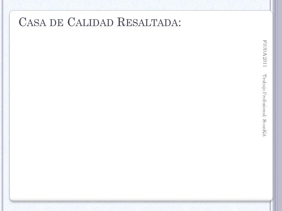 FIUBA 2011 Trabajo Profesional: ScanKit 17 C ASA DE C ALIDAD R ESALTADA :