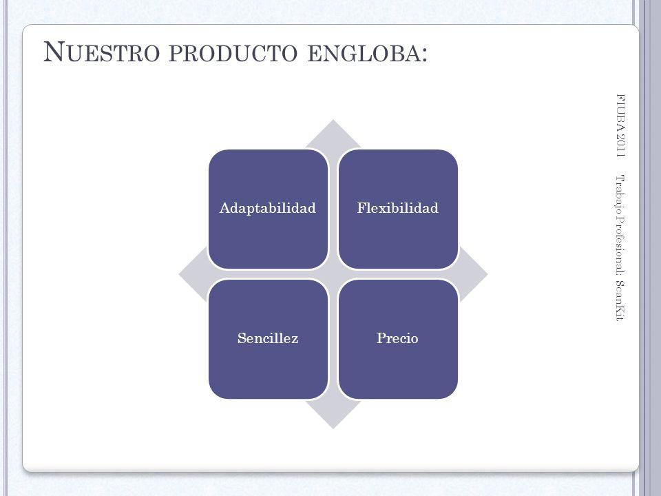 FIUBA 2011 Trabajo Profesional: ScanKit 18 N UESTRO PRODUCTO ENGLOBA : AdaptabilidadFlexibilidadSencillezPrecio