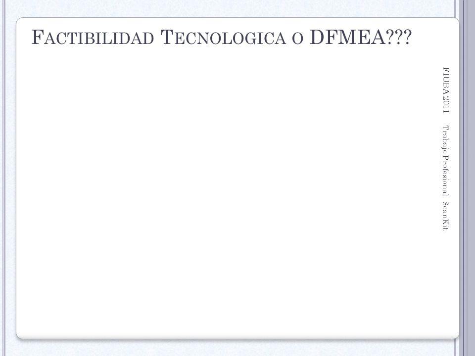 FIUBA 2011 Trabajo Profesional: ScanKit 22 F ACTIBILIDAD T ECNOLOGICA O DFMEA???
